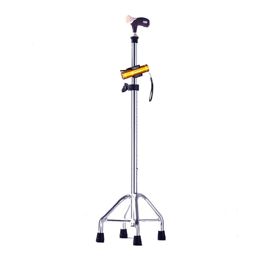 YANGYONGLIANG Cane Elderly Staff Four-foot Aluminum Cane Walking Elderly Assisted Lightweight Skid Retractable ( Color : Silver )