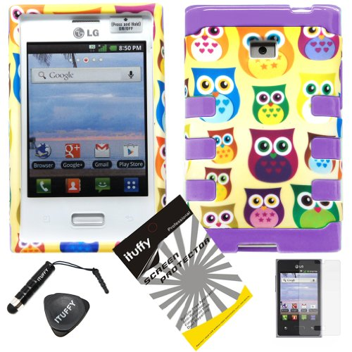 4-items-Combo-ITUFFYTM-LCD-Screen-Protector-Film-Mini-Stylus-Pen-Case-Opener-Yellow-Purple-Green-Blue-Pink-Cartoon-Owl-Design-Rubberized-Hard-Plastic-Purple-Soft-Rubber-TPU-Skin-Dual-Layer-Tough-Hybri