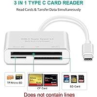Lector de tarjetas USB C 3 en 1 USB C tipo C para lectores de tarjetas CF SD TF lector de tarjetas para MacBook Phone y dispositivos USB-C de supervelocidad USB-C 3.0 OTG para MacBook Pro, Chromebook Pixel y más