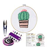 Handmade Embroidery Starter Kit Set with Pattern Including Embroidery Cloth,Bamboo Embroidery Hoop,...