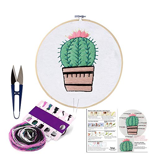 Handmade Embroidery Starter Kit Set with Pattern Including Embroidery Cloth,Bamboo Embroidery Hoop, Color Threads, and Other Tools Kit for Beginners ()