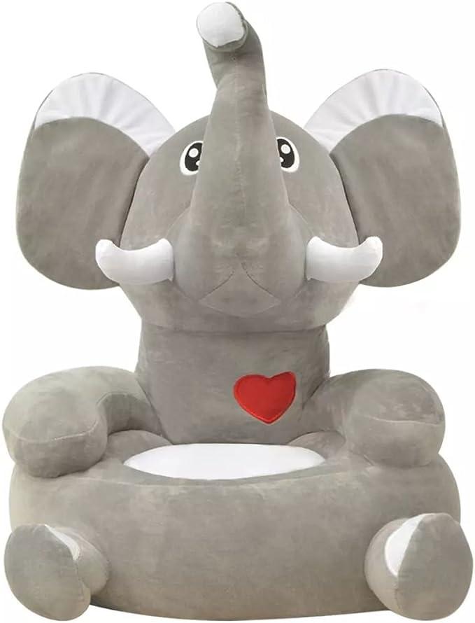 Poltrona per Bambini//Poltrona in Peluche per Bambini Elefante Grigio Festnight