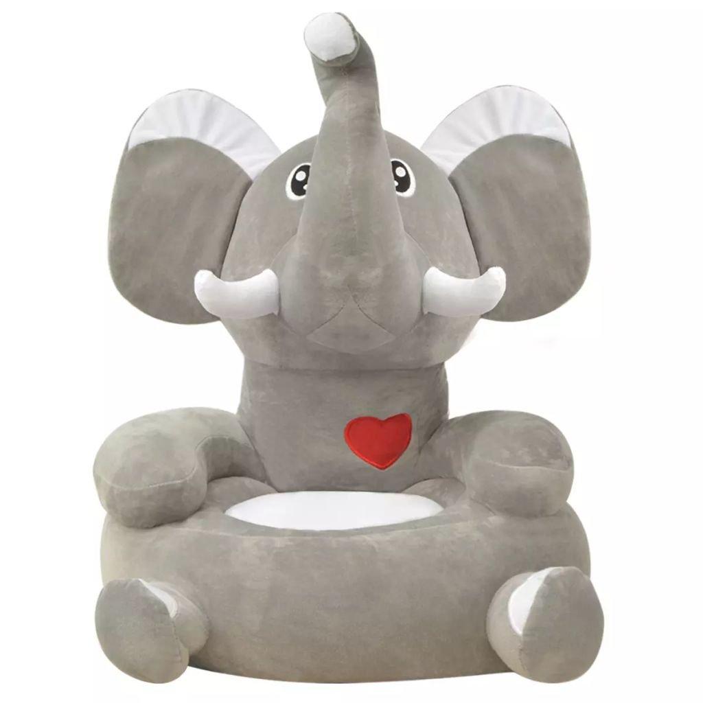 Festnight- Poltrona per Bambini/Poltrona in Peluche per Bambini Elefante Grigio