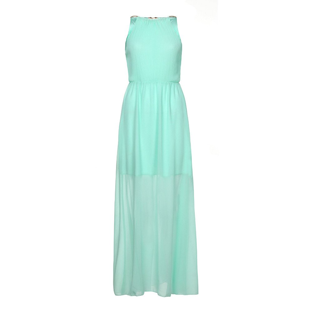 RoDeke Ladies Summer Halter Solid Color Sleeveless Dress Beach Dress Cocktail Dress