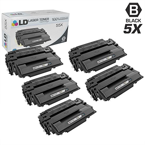 LD Compatible Toner Cartridge Replacement for HP 55X CE255X High Yield (Black, 5-Pack) ()