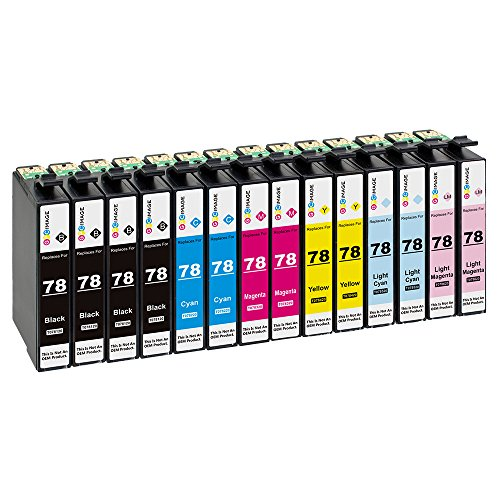 GPC Image 14 Pack Compatible Ink Replacement for Epson 78 (4 Black, 2 Cyan, 2 Magenta, 2 Yellow, 2 Light Cyan, 2 Light Magenta) for use in Epson Stylus Photo R260 R380 RX580 RX680 Inkjet Printers