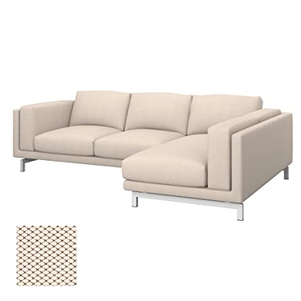 Soferia - Replacement Cover for IKEA NOCKEBY 2-seat Sofa with Right Chaise Longue, Nordic Creme