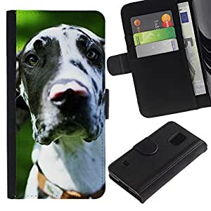 Stuss Case / Funda Carcasa PU de Cuero - Great Dane Dalmatian Spots Dog - Samsung Galaxy S5 V SM-G900