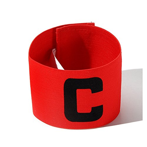 UNAOIWN Captain Armband Soccer Football Elastic Adjustable Player Bands for Adult and Child (Red)