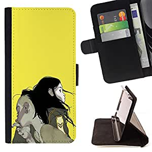 BullDog Case - FOR/HTC Desire 820 / - / BOY GIRL COUPLE SMOKE YELLOW PAINTING ART /- Monedero de cuero de la PU Llevar cubierta de la caja con el ID Credit Card Slots Flip funda de cuer
