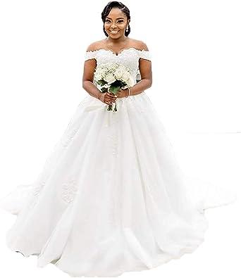 Amazon Com Pd Princess Women S Vintage Off Shoulder Lace Wedding Dresses 2020 Plus Size Sweep Train Lace White Bridal Gowns Clothing