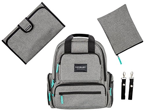 YavoBaby Deluxe Baby Diaper Bag Backpack – Large Capacity Multi-Functional Unisex Travel Backpack – Stylish and Long Lasting – Free Changing Pad, Stroller Straps, and Nursing Pouch – Gray w/Teal Tags