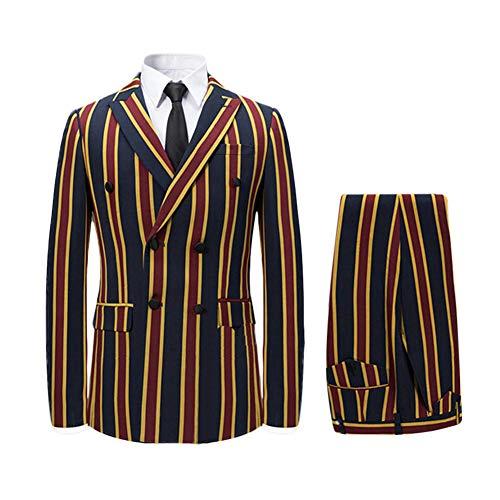 Men's Colored Striped 3 Piece Suit Slim Fit Tuxedo Blazer Jacket Pants Vest Set (Red-DB, Medium) ()