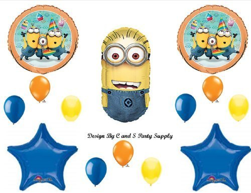 DESPICABLE ME 2 MINIONS BLUE Happy Birthday PARTY Balloons Decorations Supplies by Anagram -