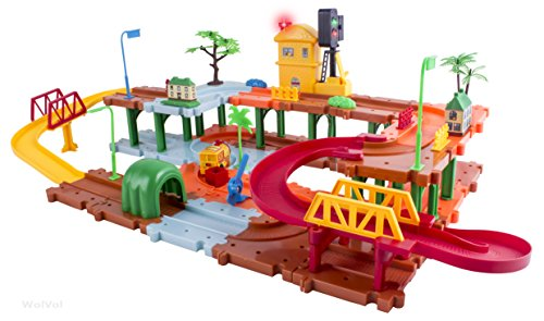 wolvol big train tracks set toy for kids with upper and lower import it all. Black Bedroom Furniture Sets. Home Design Ideas