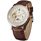 FORSINING men's flywheel auto mechanical moon phase Geniune Leather Band wrist watch + Box
