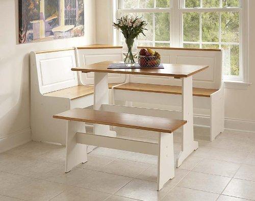 Linon Home Ardmore Nook Set with Pine Accents, (3 Piece Breakfast Corner Nook)