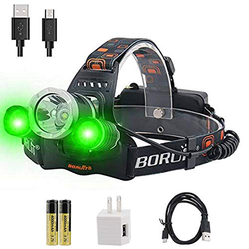 BORUiT RJ-3000 LED Headlamp with Green Light
