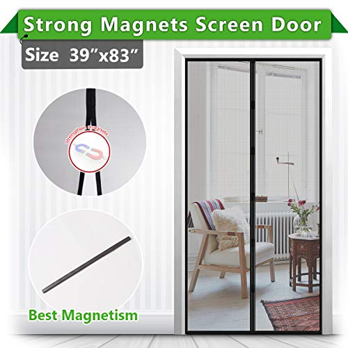 [Upgrade Version ] Magnetic Screen Door, IKSTAR Fiberglass Mesh Door Instant Closure with Full Frame Hook&Loop, Keep Fly/Bugs Out, Pet/Kids Walk Through Freely, Fit Doors Up to 36