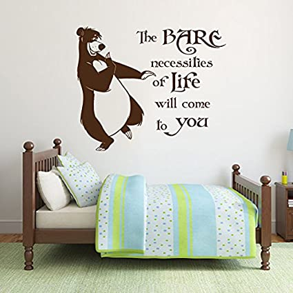 df7ab5b2688 Wall Decal Quote The Bare Necessities Of Life Will Come To You Jungle Book  Mowgli and ...