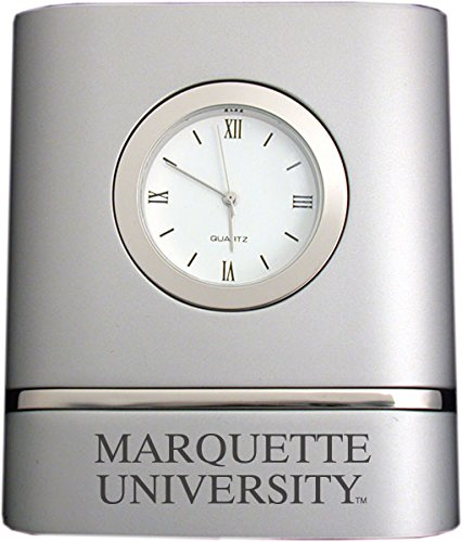 Marquette University- Two-Toned Desk Clock -Silver