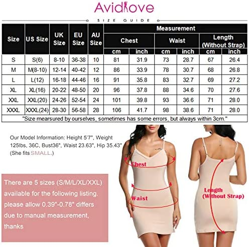 Avidlove Women's Full Slip Adjustable Spaghetti Strap Camisole Mini Dress Casual Deep V Nightgown