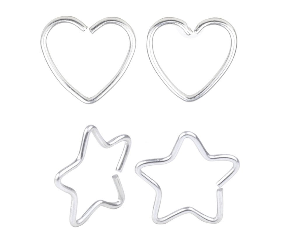 CM A+ 4 Pcs Mix Surgical Steel Heart& Star Shaped Lip Ear Nose Hoop Ring Earrings Clip Non Piercing Jewelry &8
