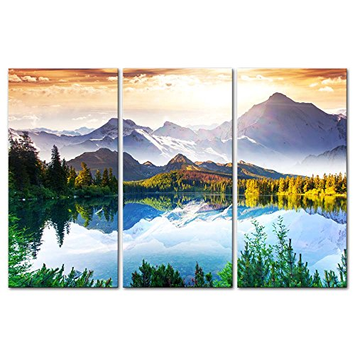 Day Framed Panel Print - 3 Pieces Modern Canvas Painting Wall Art The Picture For Home Decoration Fantastic Sunny Day Is In Mountain Lake Beauty World Landscape Mountain&Lake Print On Canvas Giclee Artwork For Wall Decor