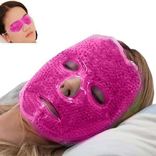 Full Face Gel Mask + Bonus: Eye pad, Hot & Cold Therapy Set  Spa Compress Thermopearl Treatment, Stress Relief, Treats Puffy Eyes, Dark Circles, Acne, Bags  Women Men Gift for Birthday or Anniversary