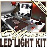 Biltek 6' ft Cool White Office Light LED Lighting Strip + Dimmer + Remote + Wall Plug 110V - Under Desk Hutch Drawers Bookshelf Reading Glass Case Reading Night Lamp 3528 SMD Flexible DIY 110V-220V