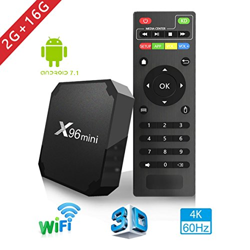 2018 Android TV Box - Smart TV Box with Quad Core X96 Mini Android 7.1 OS Amlogic S905W 3D/4K/HD Media Player 2GB 16GB/WiFi 2.4G X96 Mini TV Box by Aoxun