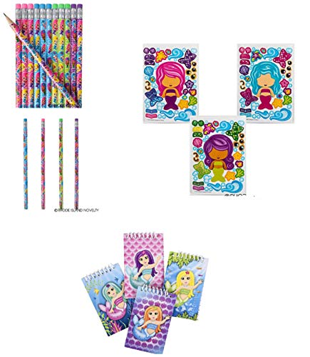 36 Adorable Mermaid Party Favors ~ 12 Make-Your-Own Mermaid Sticker Sheets ~ 12 Mermaid Pencils & 12 Mermaid Spiral Notebooks ~ Mermaid/Aquatic Theme Parties, Goody Bags, Giveaways, Classroom Prizes -