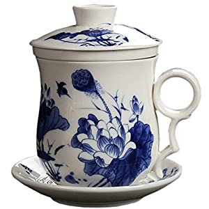 BandTie Convenient Travel Office Loose Leaf Tea Brewing System-Chinese Jingdezhen Blue and White Porcelain Tea Cup Infuser 4-Piece Set with Tea Cup Lid and Saucer (Blue Lotus Pattern)
