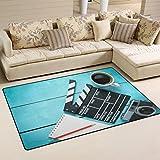 WOZO Clapper Movie Blank Note Coffee Area Rug Rugs Non-Slip Floor Mat Doormats Living Room Bedroom 60 x 39 inches