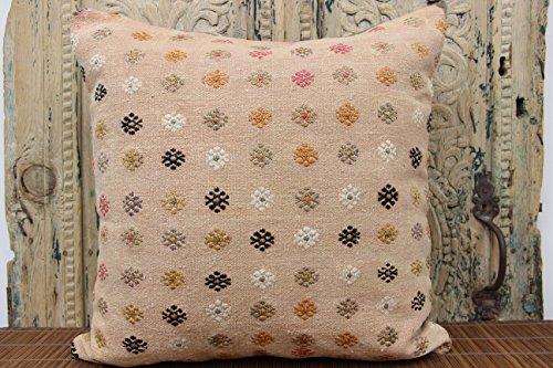 Turkish kilim pillow cover 20x20 inch (50x50 cm) Throw Kilim pillow cover Home Decor Anatolian Pillow cover Kilim Cushion Cover (Anatolian Striped Kilim Rug Cushion)