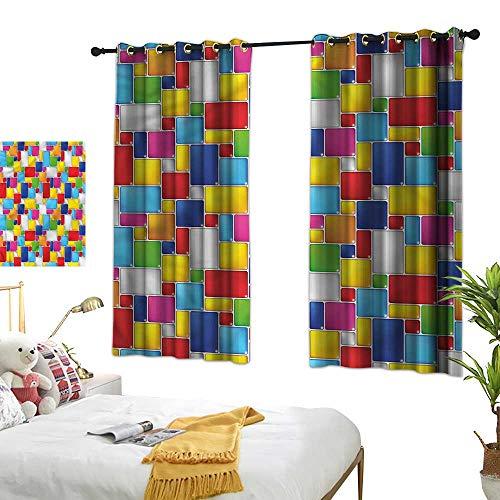 Davishouse Simple Curtain Square Shape Grid Cube Darkening and Thermal Insulating 55