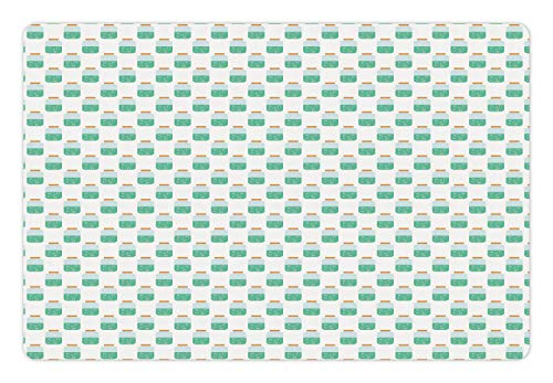 Lunarable Eyeball Pet Mat for Food and Water, Halloween Themed Repeating Doodle Pattern of Eyes in Jar, Rectangle Non-Slip Rubber Mat for Dogs and Cats, Sea Green Baby Blue Apricot and White