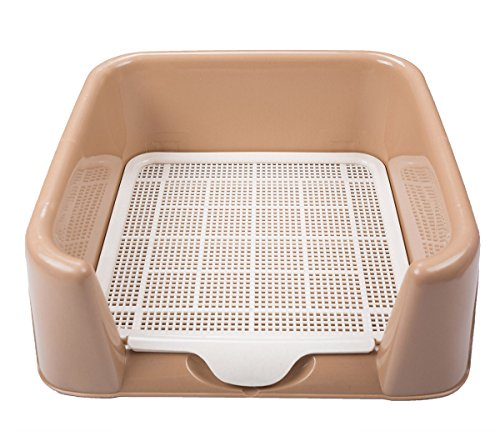 Dog Toilet, FATPET Portable Plastic Toilet for Puppy Indoor Dog Toilet with Fenced for Small Dogs (brown)
