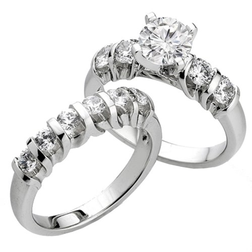 Dazzlingrock Collection 0.75 Carat (Ctw) 14k Round Diamond Ladies Bridal Semi Mount Ring Set (No Center Stone), White Gold, Size 6