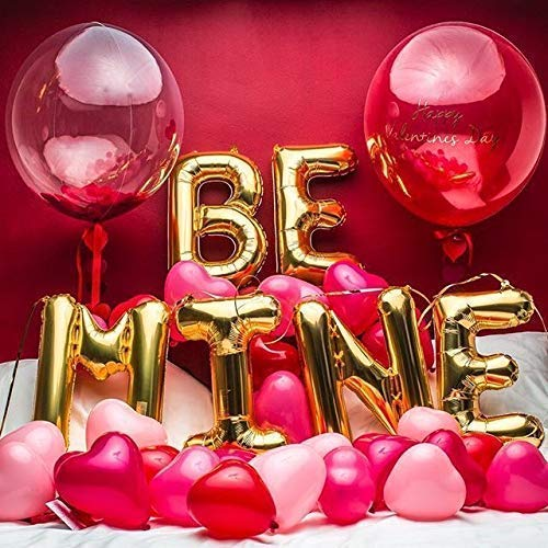Valentine's Day Mimosa Bar BE MINE Balloon Decorations, BE MINE Letter Balloon With Heart Balloons, Bobo Balloons,Great for Champagne Bar/Bachelor party/Bubbly Bar/Wedding/Bridal Shower
