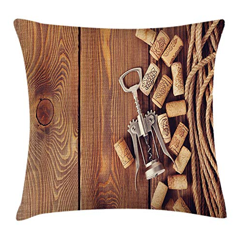 Yingzsal Winery Throw Pillow Cushion Cover, Wine Corks Rustic Wooden Ground Natural Organic Liquor Elements Vintage Harvest Top View, Decorative Square Accent Pillow Case, 20 X 20 Inches, Brown