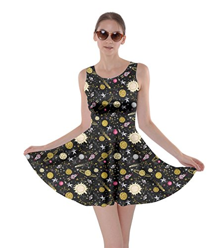 CowCow Womens Space Yellow Skater Dress, Space Yellow - M -