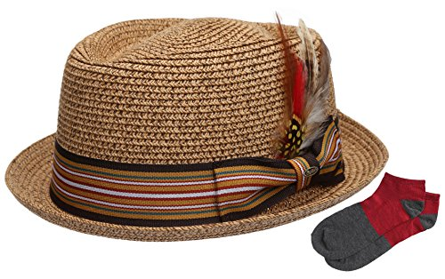 Men's Premium Straw Porkpie Fedora Hat with Summer Low Cut Sock(F1860-BROWN,LXL) Stripe Straw Hat