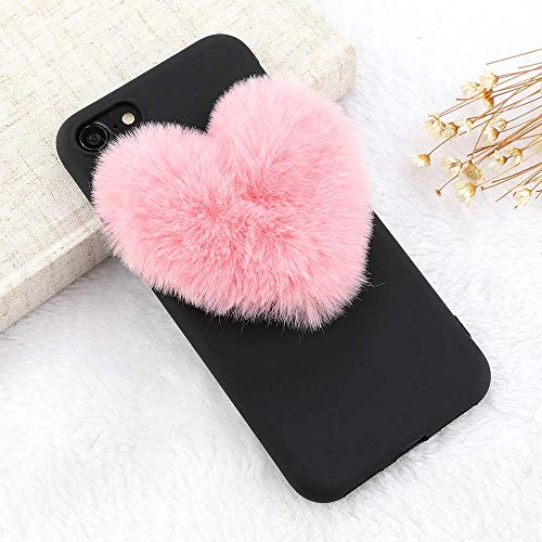 for iPhone 7 Plus Case iPhone 8 Plus Case LAPOPNUT Luxury Cute 3D Fuzzy Pom Plush Love Heart Soft Silicone Back Protective Cover Furry Pom Case TPU Bumper for Girls, Pink Pom -