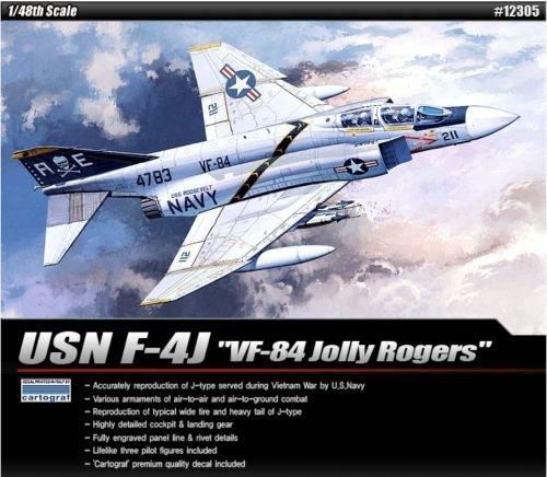 Academy Plastic Model kit 1/48 USN F-4J VF-84 Jolly Rogers Cartograf Decal -