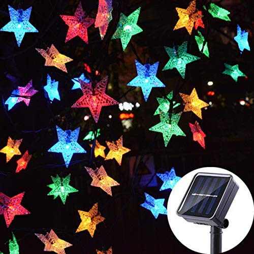 Huacenmy Outdoor Solar Star String Lights 30ft 50LED Multicolor Star Twinkle Lights Solar Powered Garden Decor Lights Playhouse Lawn Patio Landscape Decor Lights for Christams Spring Summer Party (30' String)