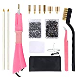 Hotfix Applicator Rhinestone Setter Kit by GLTECK Hot Fix Applicator Wand Tool Fix Set with 7 Tips-Tweezers & Cleaning Brush - 2 Pack Hot-Fix Rhinestone Crystal Embellishments (1440 stones/each)
