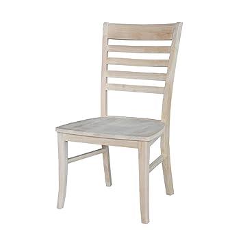 Super Amazon Com International Concepts Roma Ladder Back Chair Lamtechconsult Wood Chair Design Ideas Lamtechconsultcom