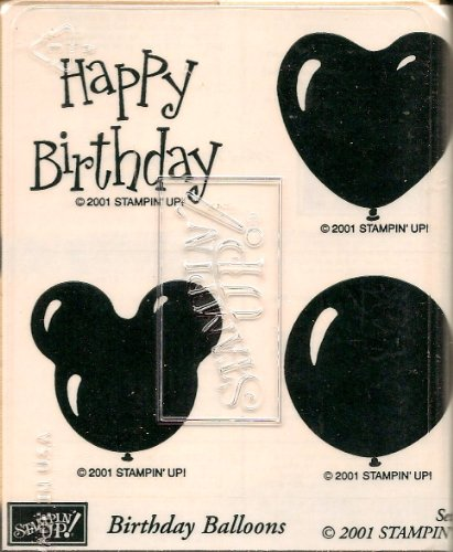 STAMPIN UP - HAPPY BIRTHDAY BALLOONS - MOUNTED SET OF 4 - RUBBER STAMP (Retired Rubber)