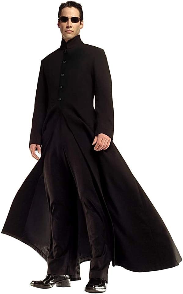 KIRALOVE Disfraz de Neo Matriz - Chaqueta y pantalón - Disfraces - Halloween - Carnaval - Cosplay - Hombre Color Negro - Talla l - Idea de Regalo Original Neo Matrix Cosplay